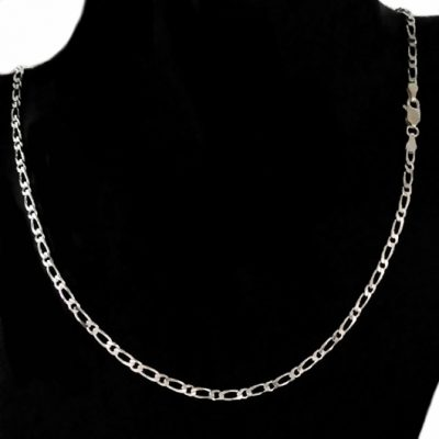 Chain Sterling Silver Figaro 11 bevelled 2.8mm 45cm (BFD81)