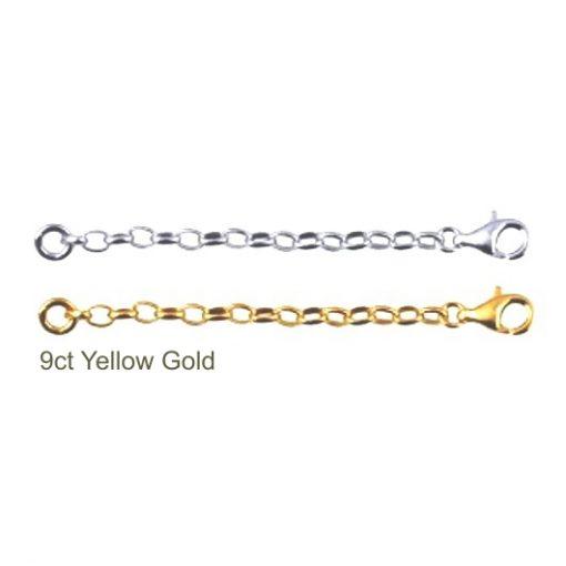 9ct gold extender chain oval Belcher 2.6mm 5cm