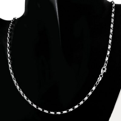 Chain Sterling Silver Belcher diamond cut 2.8mm 45cm (BO2D)