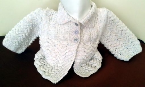 Hand knit baby jacket 4 ply soft wool pastels