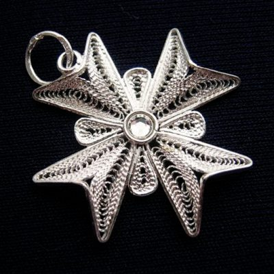 Maltese Cross filigree pendant Sterling Silver 2.5cm clear