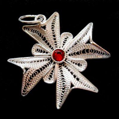 Maltese Cross filigree pendant Sterling Silver 2.5cm red