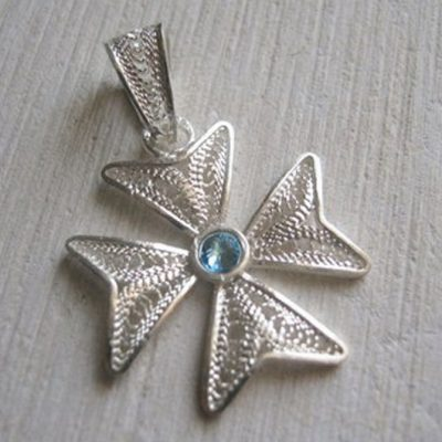 Maltese Cross filigree bail pendant Sterling Silver 2cm turquoise