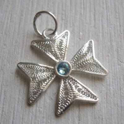 Maltese Cross filigree pendant Sterling Silver 2cm turquoise