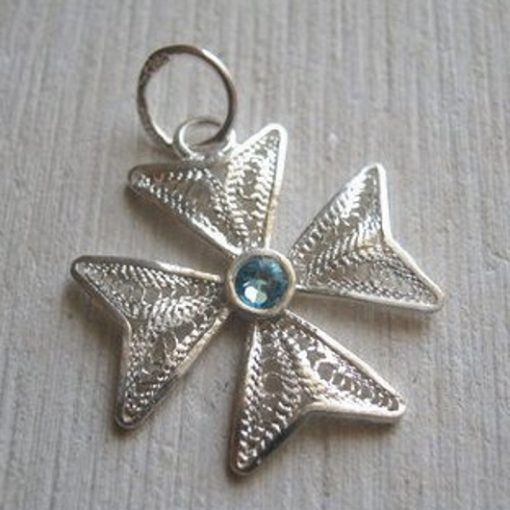 Maltese Cross filigree pendant Sterling Silver 2cm turquoise
