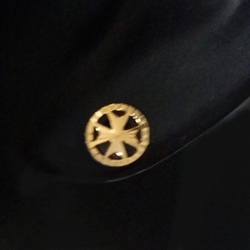 9ct Gold Maltese Cross diamond cut circle stud earrings