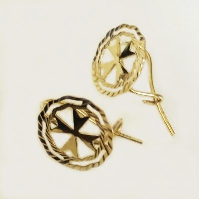 9ct Gold Maltese Cross earrings double circle 1.3cm