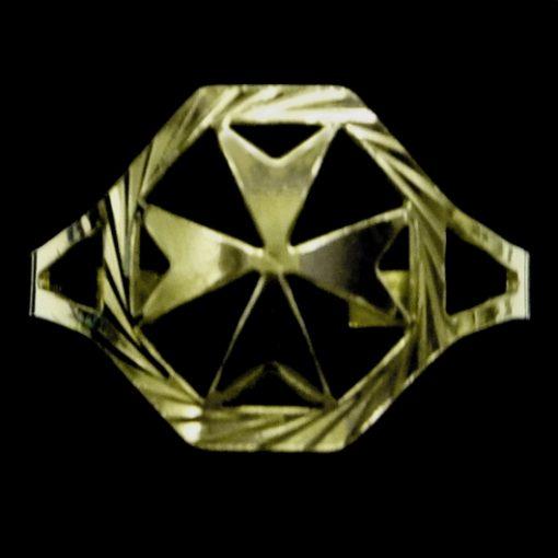 9ct Gold Maltese Cross ring diamond cut