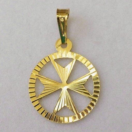 9ct Gold Maltese Cross diamond cut circle pendant 1.1cm