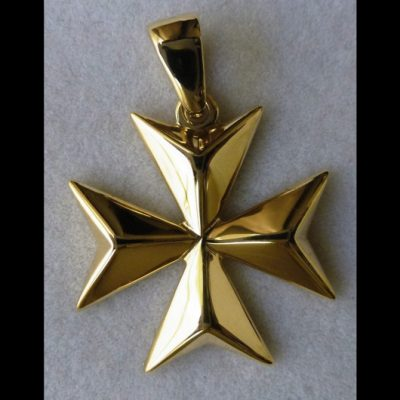 9ct Gold Maltese Cross pendant solid 2.5cm