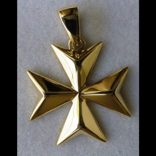 9ct Gold Maltese Cross pendant solid 2.5cm