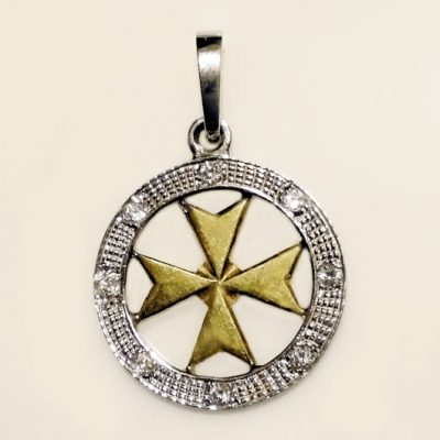 18ct 18kt white yellow Gold Maltese Cross circle pendant 2cm