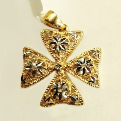 18ct 18kt yellow white Gold Maltese Cross Stars pendant 2cm
