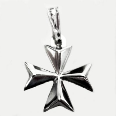 18ct Gold Maltese Cross pendant 1.8cm solid white gold