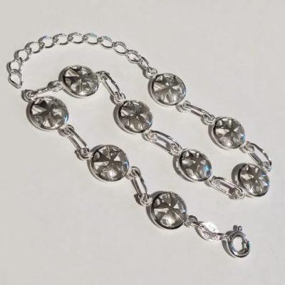 Sterling Silver Bracelet Maltese Cross double sided