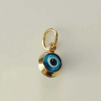 9ct yellow Gold double sided Evil Eye charm 7mm
