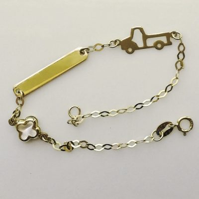 9ct 9kt Gold bracelet ID plate Cross Car