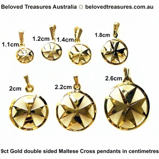 9ct gold Maltese Cross double sided pendants 7 sizes in centimetres