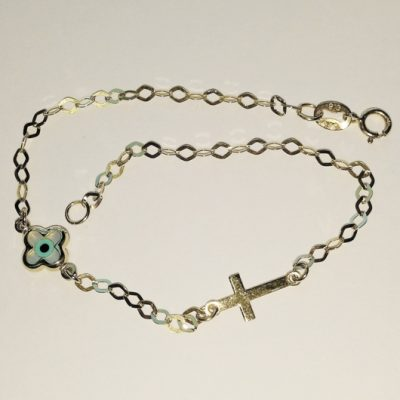 9ct 9kt Gold bracelet Cross lucky eye Christian