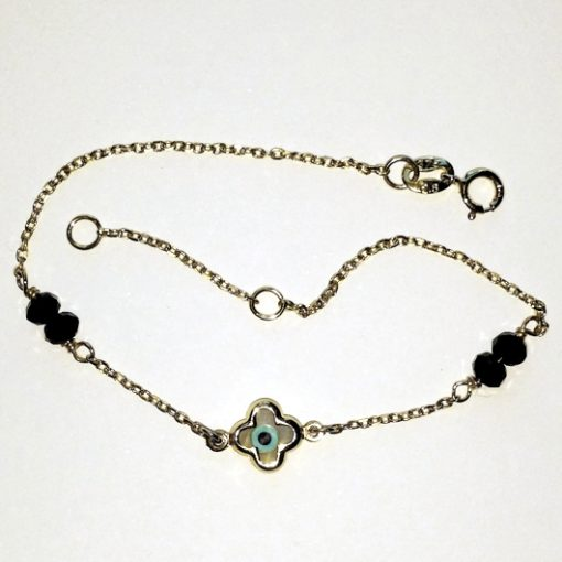 9ct 9kt gold bracelet Cross lucky eye black beads