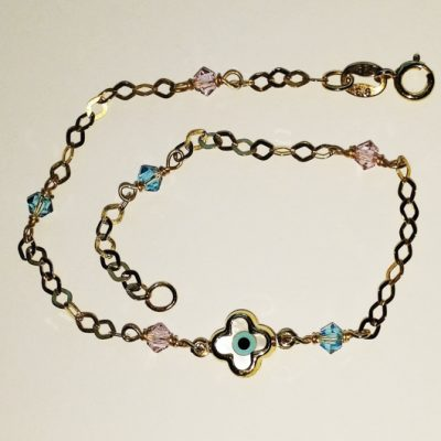 9ct 9kt gold bracelet cross lucky eye pink blue beads