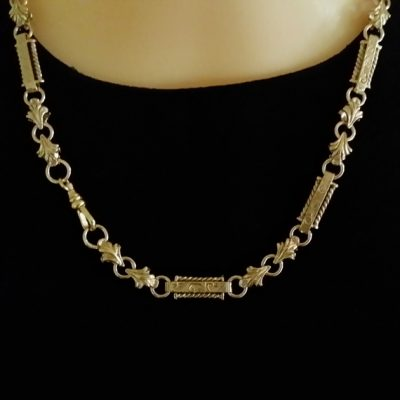 9ct Gold chain Fancy engraved handmade 6mm 45cm