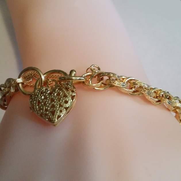 9ct Gold Bracelet Engraved Double Link Padlock Italy