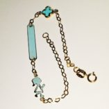 9ct-9kt-gold-bracelet-ID-plate-cross-turquoise-girl
