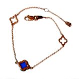 9ct-rose-gold-bracelet-Greek-cross-blue
