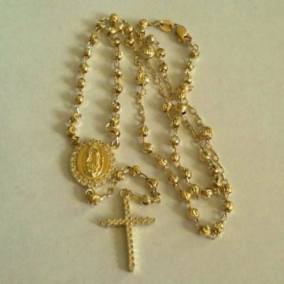 9ct Gold rosary diamond cut moon beads necklace