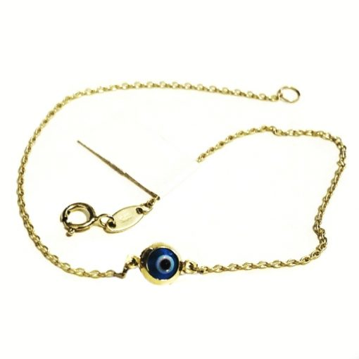 9ct Gold bracelet Murano glass evil eye 5mm