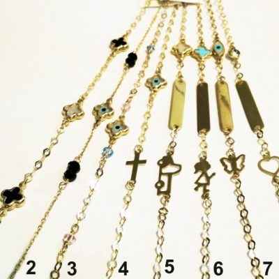 9ct 9kt Gold lucky eye Cross bracelets