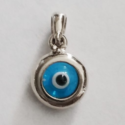 9ct white Gold double sided Evil Eye charm 9mm