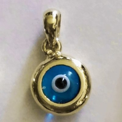 9ct yellow Gold double sided Evil Eye charm 9mm