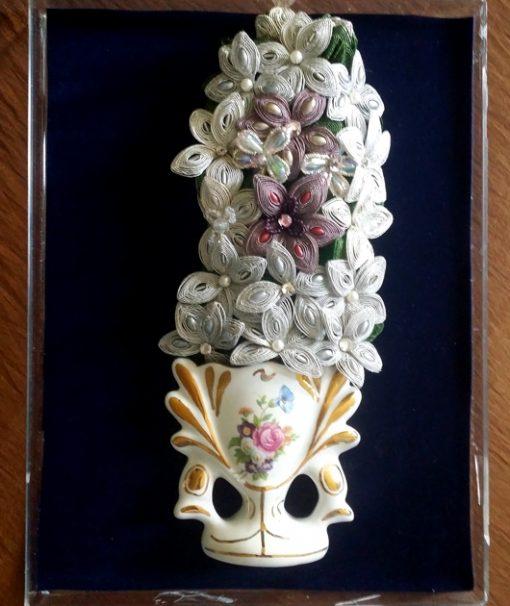 Maltese Ganutell handmade beaded flowers ceramic vase Vintage