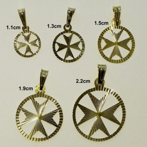 9ct Gold Maltese Cross diamond cut circle pendants 5 sizes