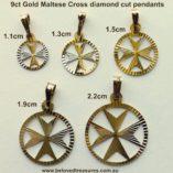 Maltese-Cross-diamond-cut-pendants-5-sizes