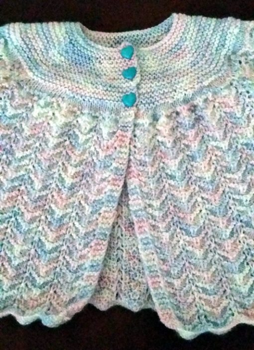 Hand knit baby cardigan 4 ply soft wool white blue pink