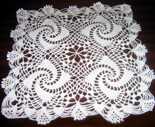 Maltese doily mat handmade white Square