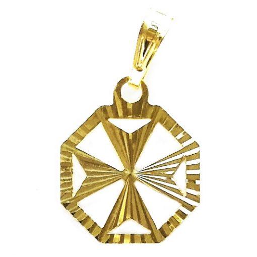 9ct gold Maltese Cross pendant diamond cut hexagonal 1.4cm