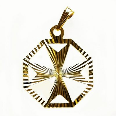 9ct gold Maltese Cross diamond cut hexagonal pendant 2.2cm