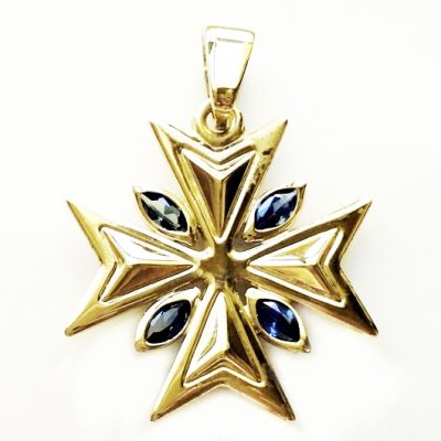 9ct Gold Maltese Cross pendant 2.2cm marquis stones Blue