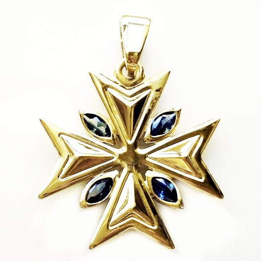 9ct gold maltese cross pendant 22cm marquis stones blue aloadofball Image collections