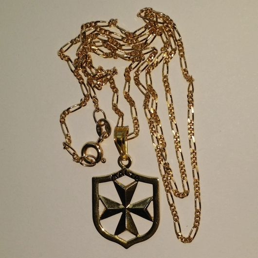 9ct Gold Maltese Cross Coat Of Arms Pendant Made In Malta