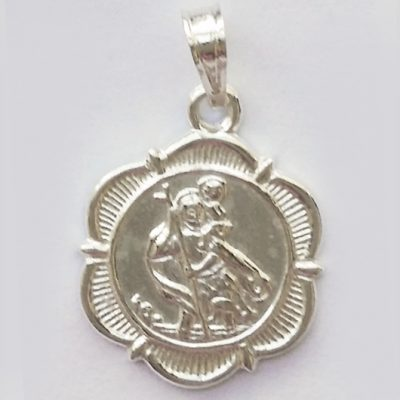 Saint Christopher medallion pendant Sterling Silver 1.8cm