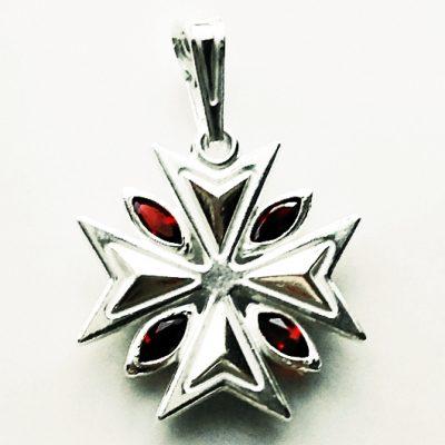 Maltese Cross pendant Sterling Silver 1.8cm red
