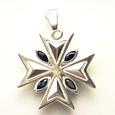 Maltese Cross pendant Sterling Silver 2.2cm blue