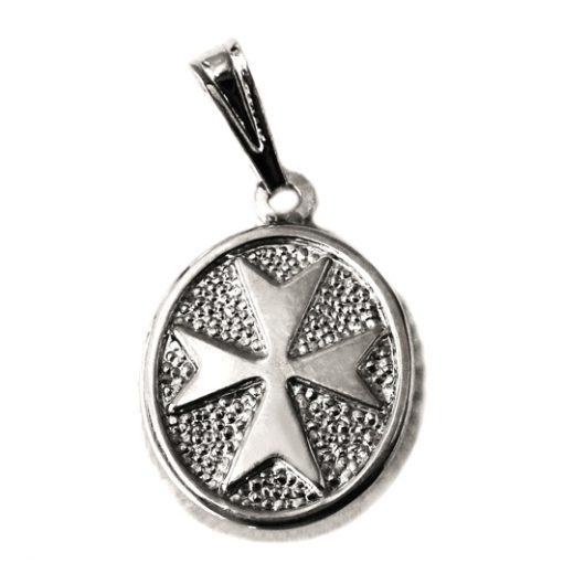 StMaltese Cross pendant Sterling Silver oval large
