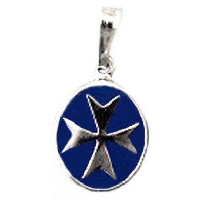 Maltese Cross pendant Sterling Silver oval large blue
