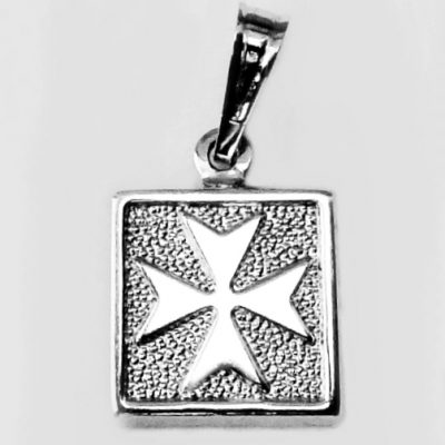 Maltese Cross pendant Sterling Silver square